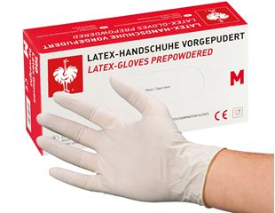 Disposable latex gloves, lightly powdered