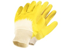 Gants en latex, bord en tricot