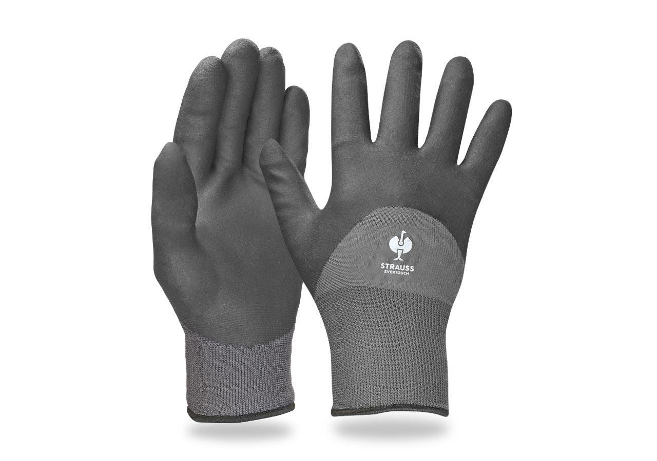 Beschichtet: e.s. Nitril-Handschuhe evertouch winter + schwarz/grau