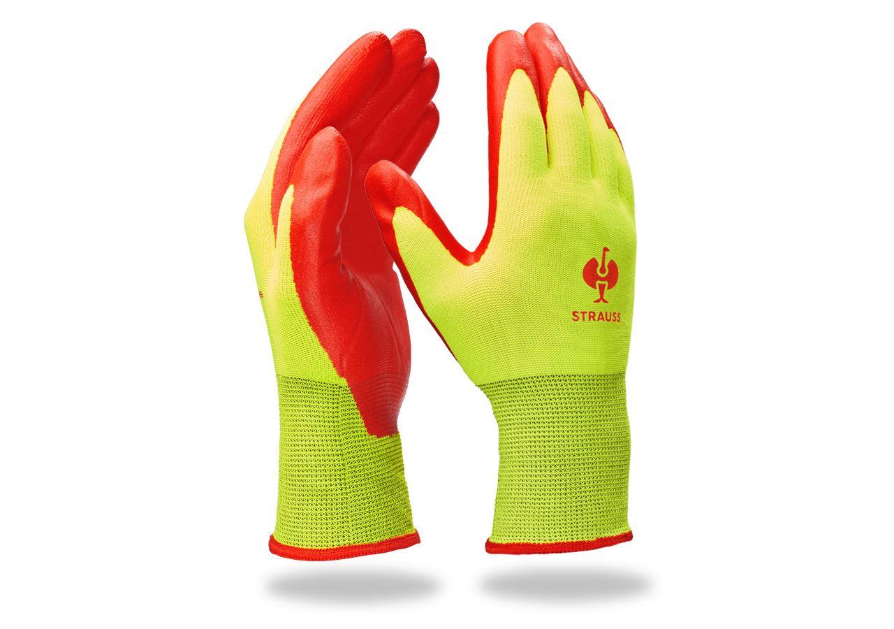 Beschichtet: Nitrilschaum-Handschuhe Flexible Foam + warngelb/rot
