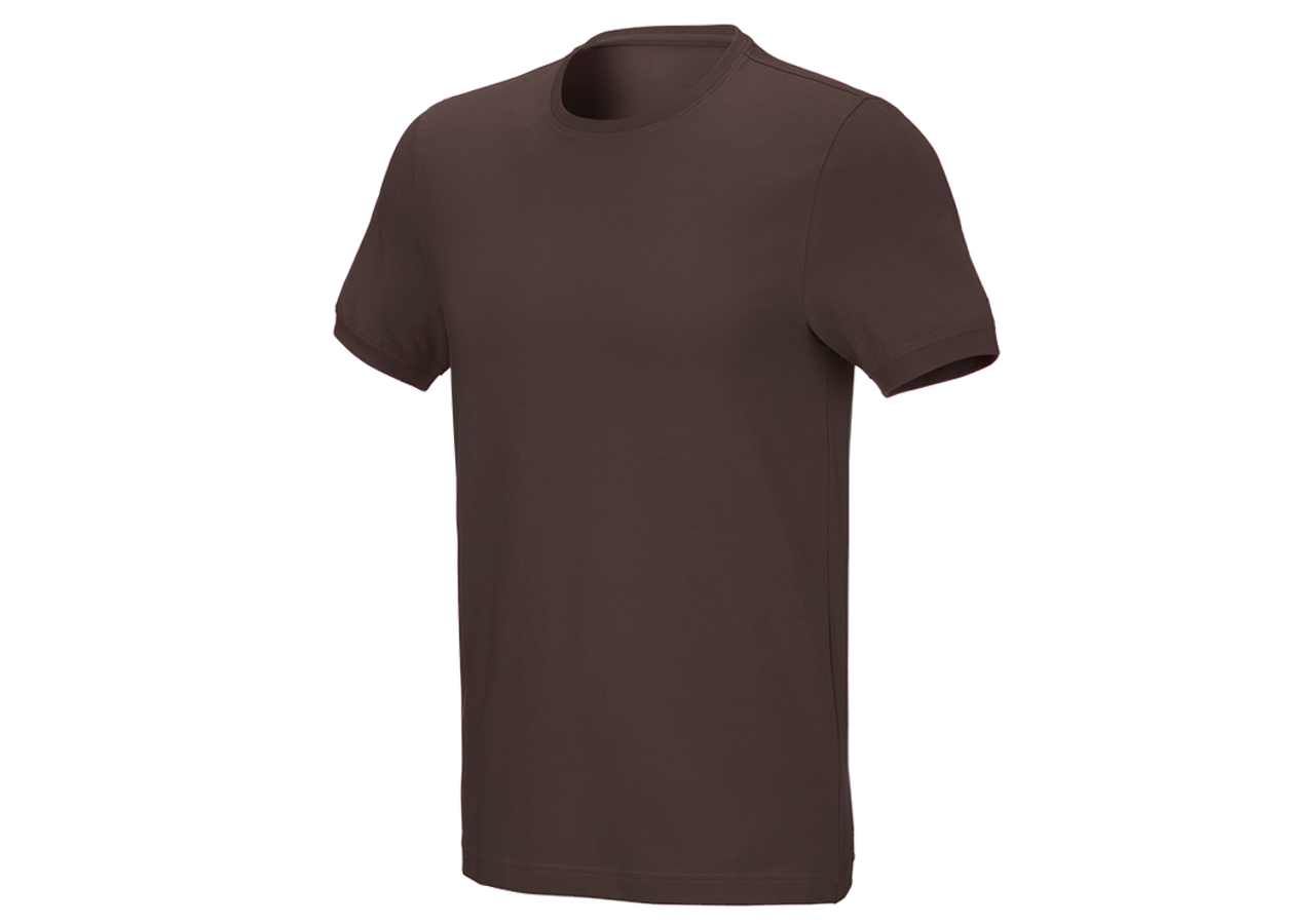 Shirts, Pullover & more: T-shirt cotton stretch, slim fit + chestnut