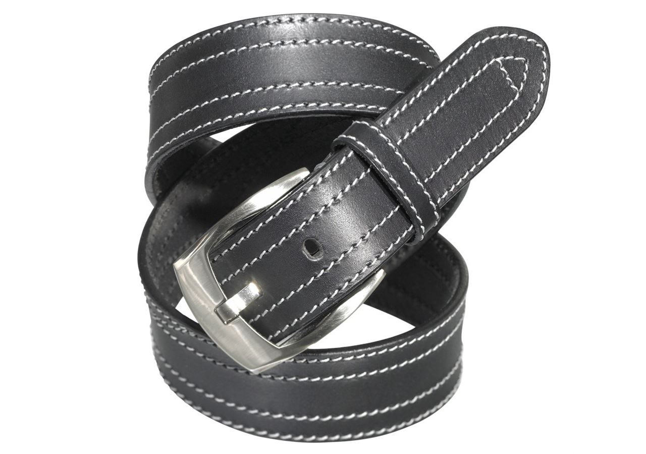 Accessories: Leather belt Baxter + black