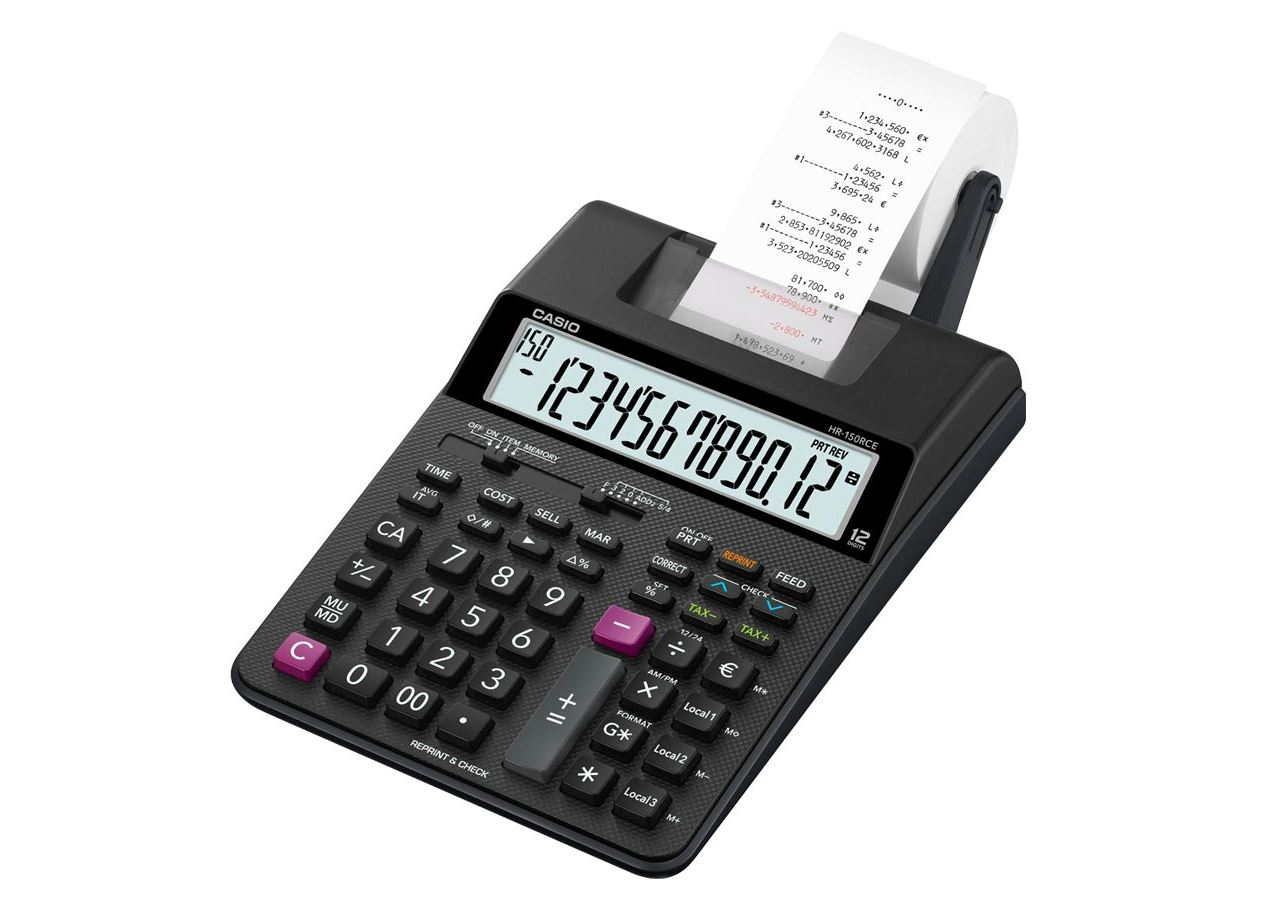 Office equipment: Casio calculator with print function HR-150RCE