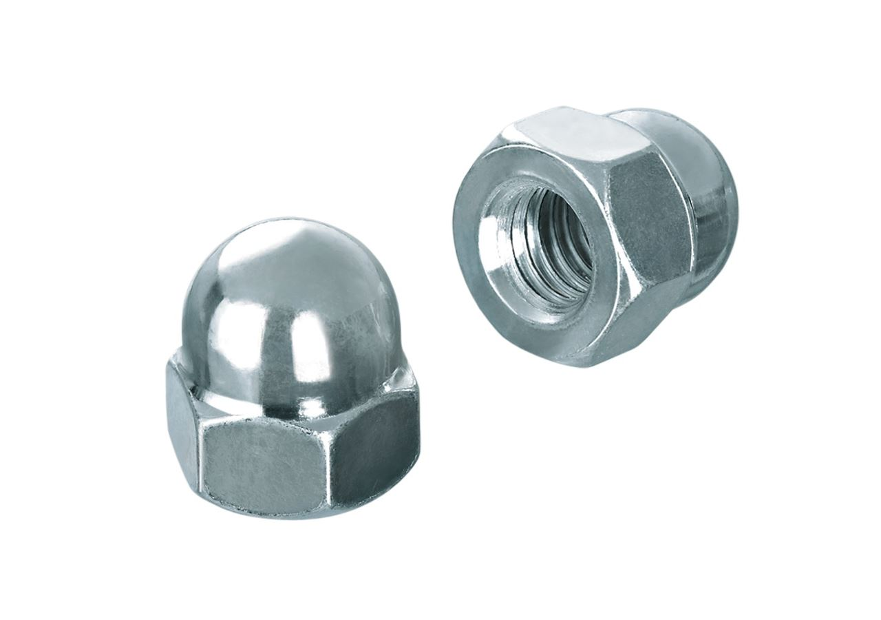 Nuts: Domed nut DIN 1587 high Form, galv. zn.