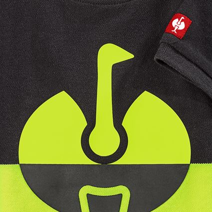 Shirts & Co.: e.s. Piqué-Shirt colourblock, Kinder + schwarz/warngelb 2