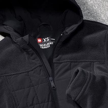 Work Jackets: Hybrid fleece hoody e.s.concrete, ladies' + black 2