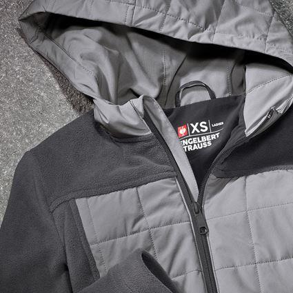 Work Jackets: Hybrid fleece hoody e.s.concrete, ladies' + anthracite/pearlgrey 2