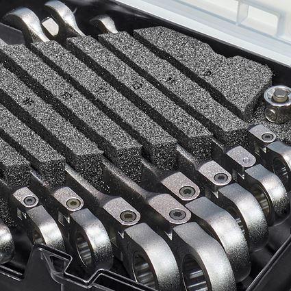 Schraubenschlüssel: Ratch-Tech-Satz mit Gelenk in STRAUSSbox mini 2