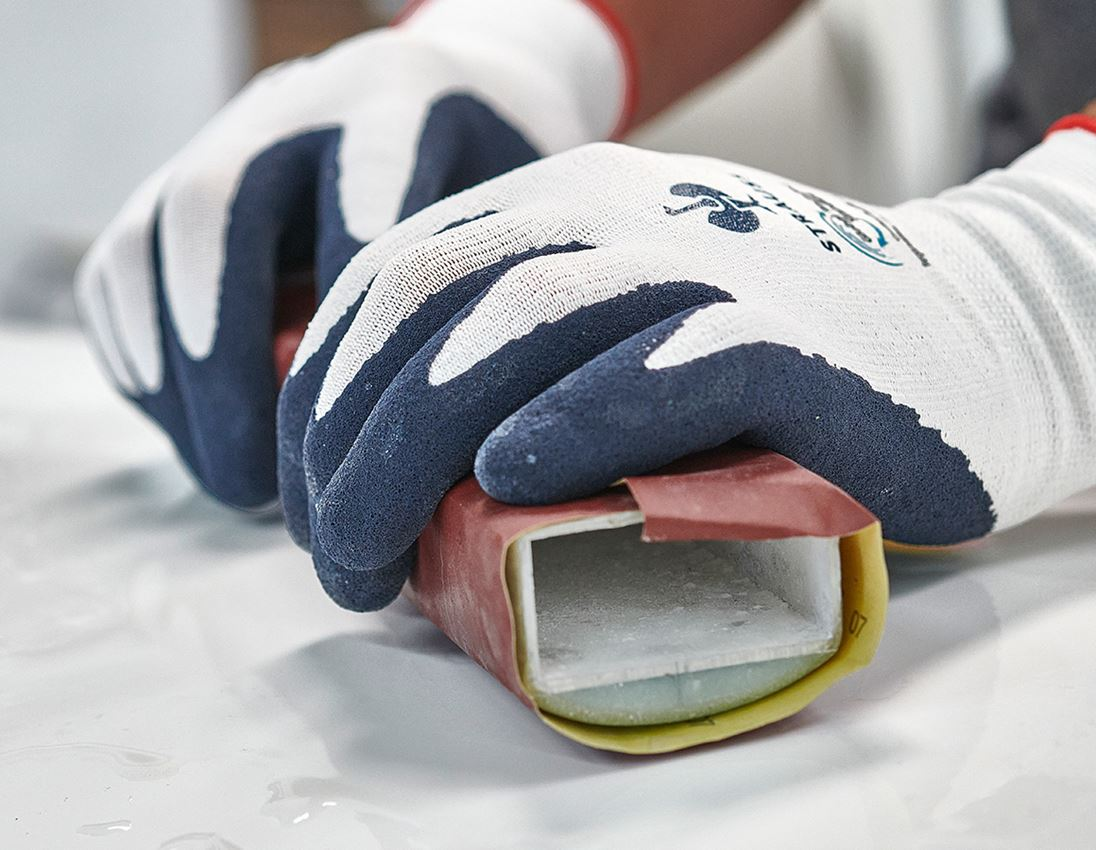 Beschichtet: e.s. Latexschaum-Handschuhe recycled, 3 Paar + blau/weiß