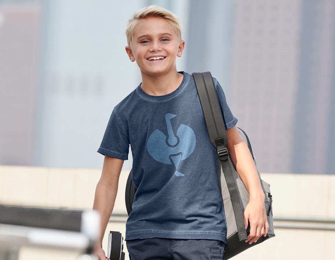 Shirts & Co.: T-Shirt e.s.motion ten ostrich, Kinder + schieferblau vintage
