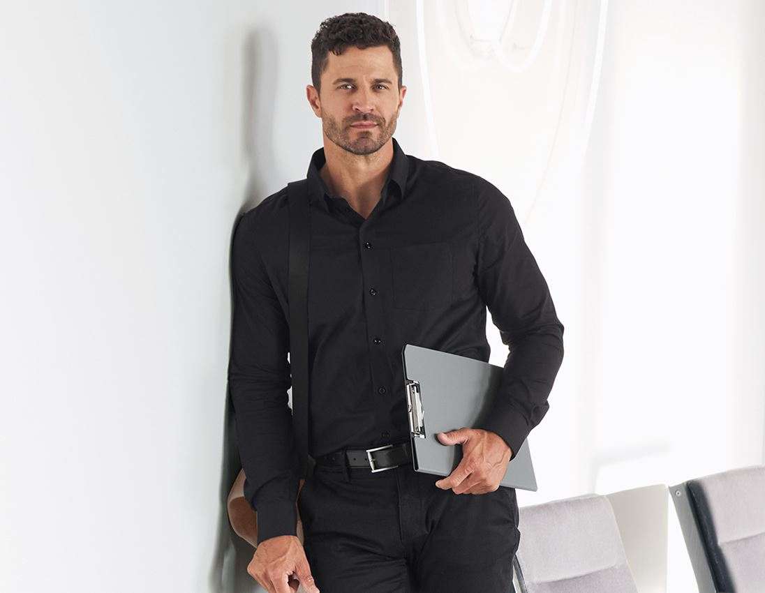 Shirts, Pullover & more: e.s. Business shirt cotton stretch, comfort fit + black
