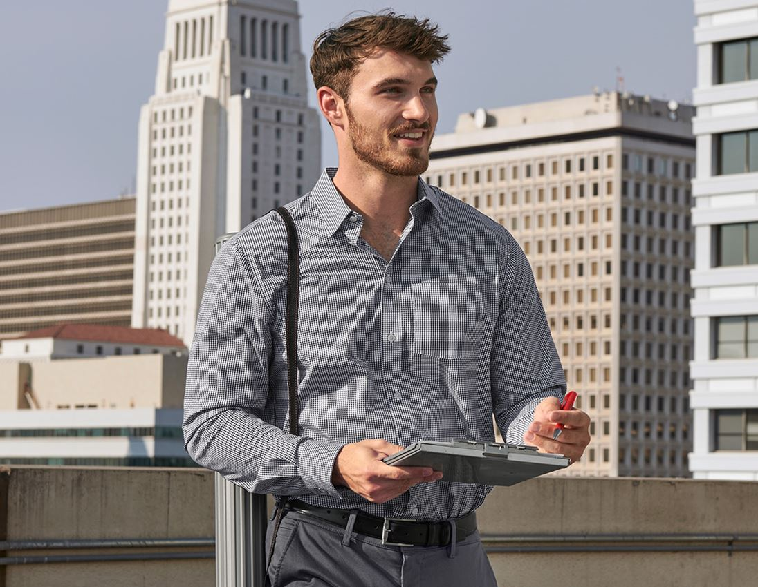 Shirts, Pullover & more: e.s. Business shirt cotton stretch, comfort fit + black checked