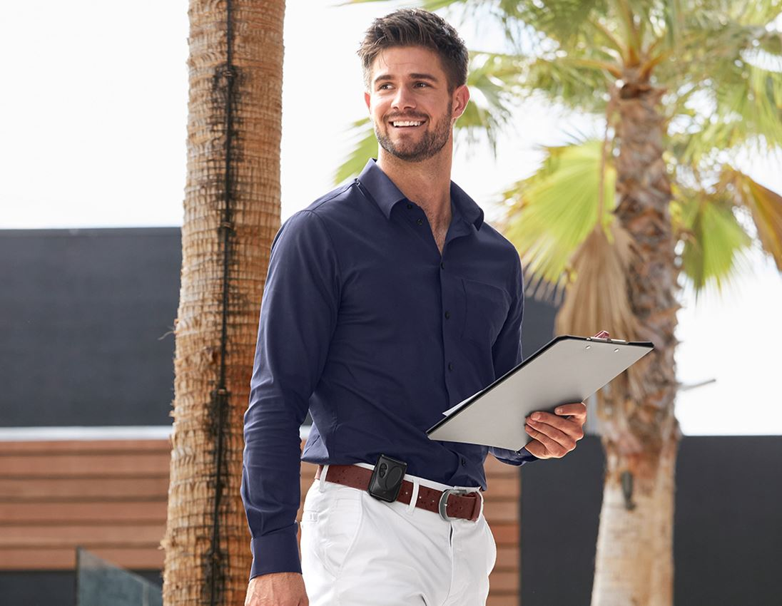 Shirts, Pullover & more: e.s. Business shirt cotton stretch, slim fit + navy