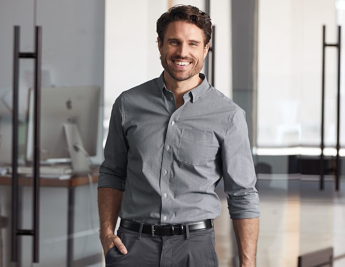 Shirts, Pullover & more: e.s. Business shirt cotton stretch, regular fit + black checked
