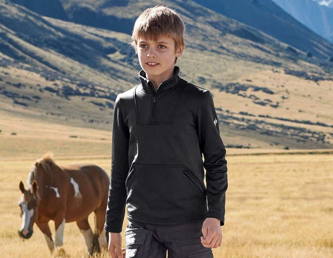 Shirts & Co.: Funkt.-Troyer thermo stretch e.s.concrete, Kinder + schwarz