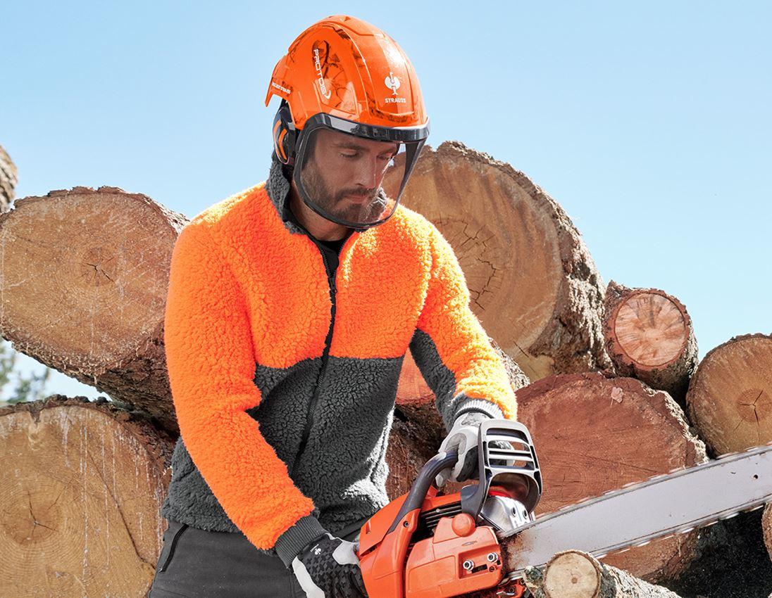 Vestes de travail: e.s. Veste polaire de forestier + orange fluo/gris carbone