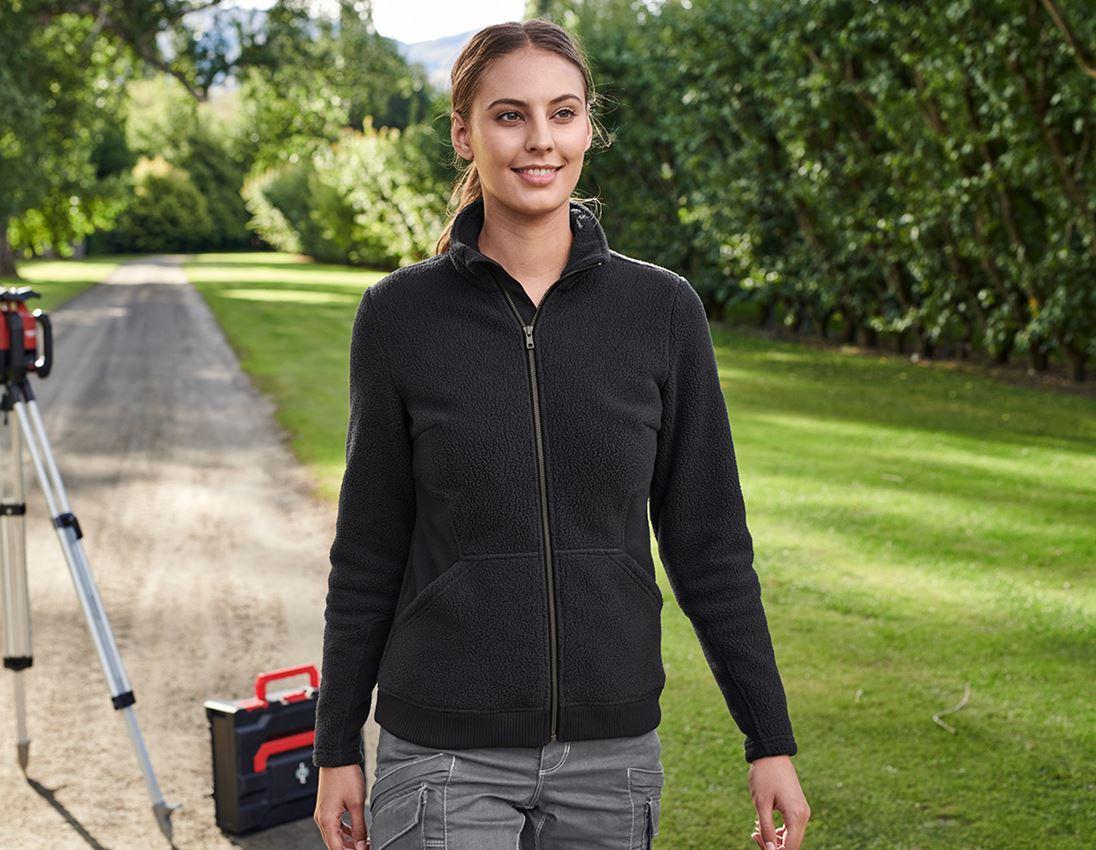 Work Jackets: Faux fur jacket e.s.vintage, ladies' + black