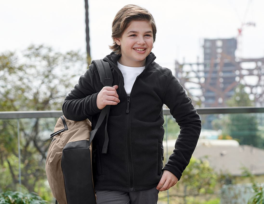 Jacken: e.s. Fleecejacke CI, Kinder + schwarz