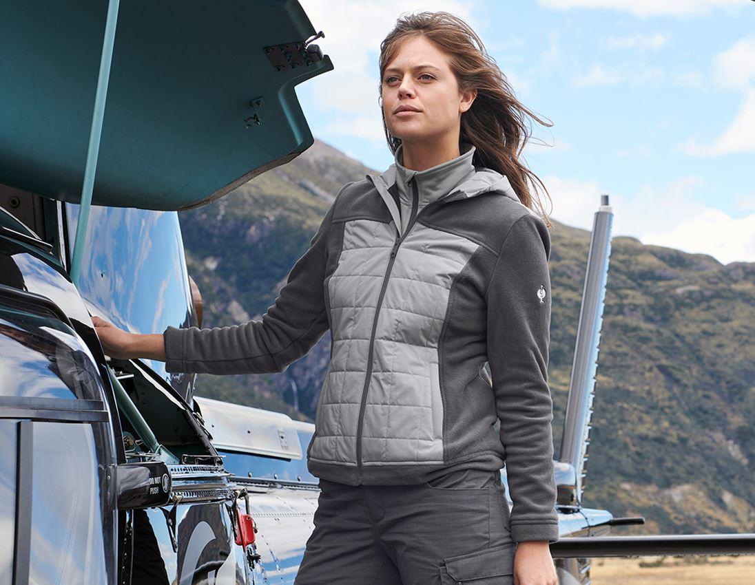Work Jackets: Hybrid fleece hoody e.s.concrete, ladies' + anthracite/pearlgrey