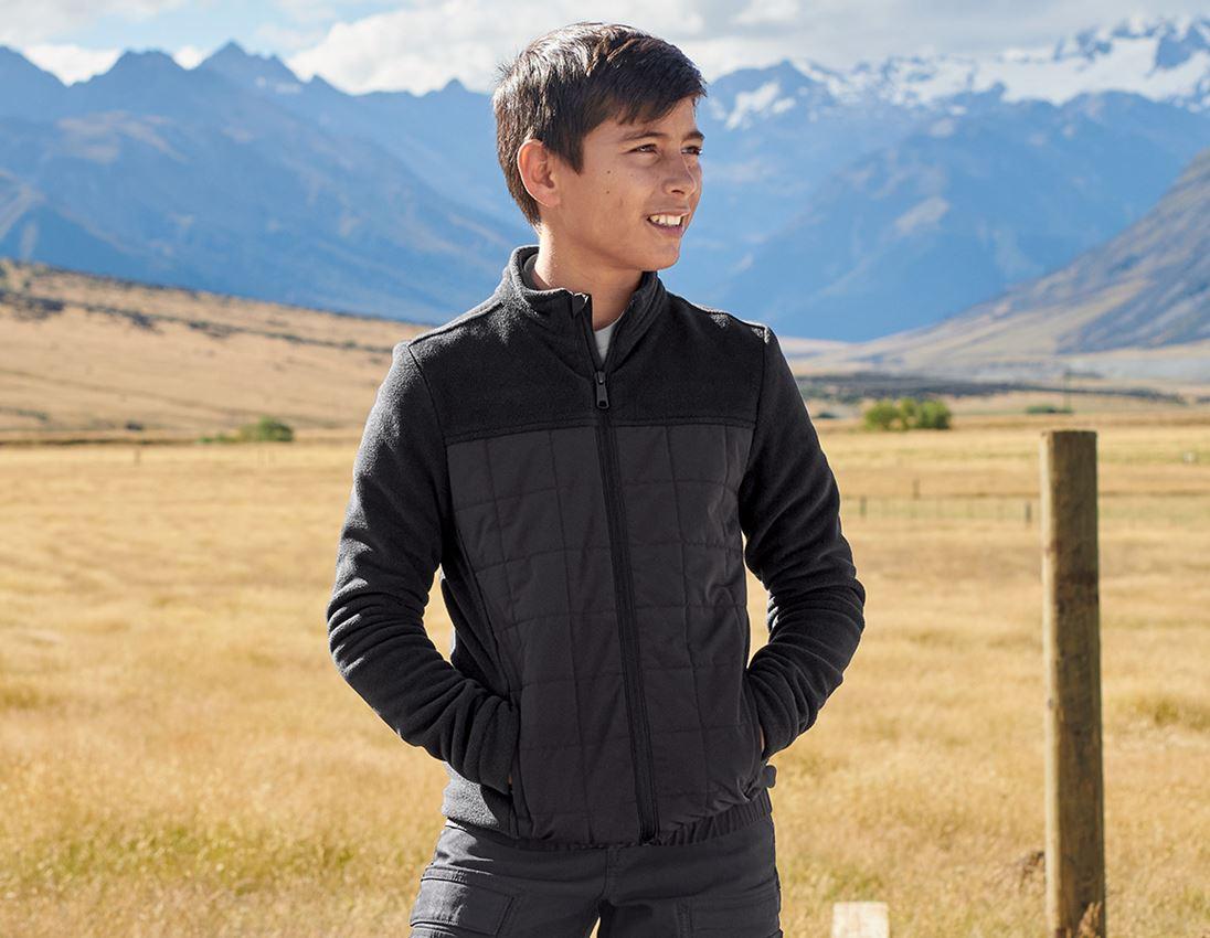 Jackets: Hybrid fleece jacket e.s.concrete, children's + black