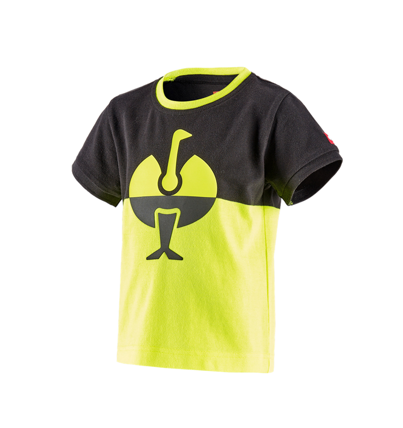Shirts & Co.: e.s. Piqué-Shirt colourblock, Kinder + schwarz/warngelb