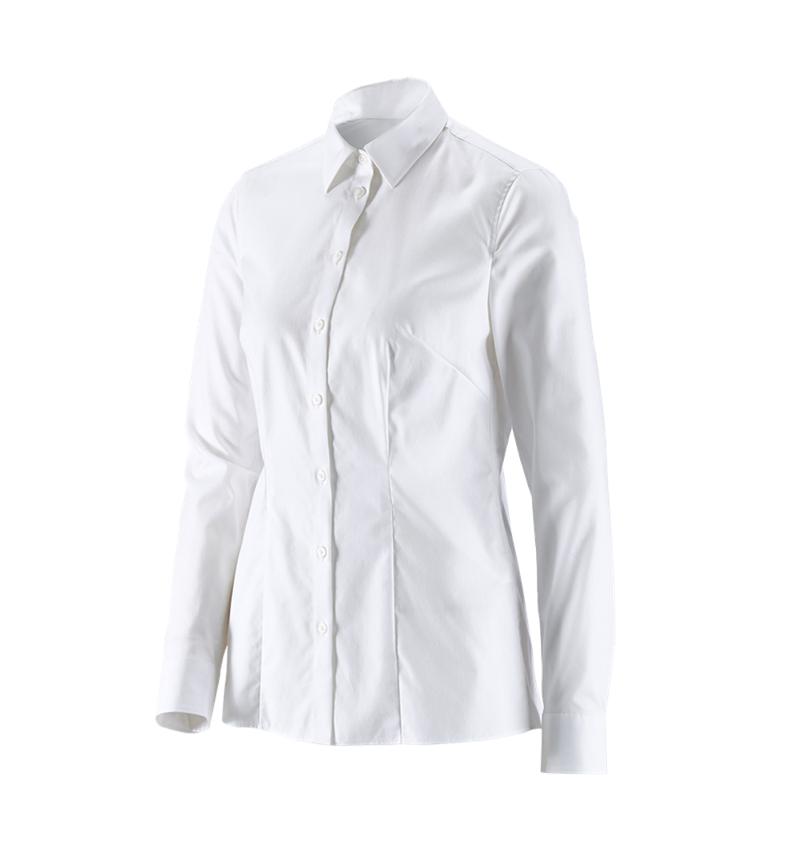 Hauts: e.s. Chemisier business cotton str. fem. reg. fit + blanc