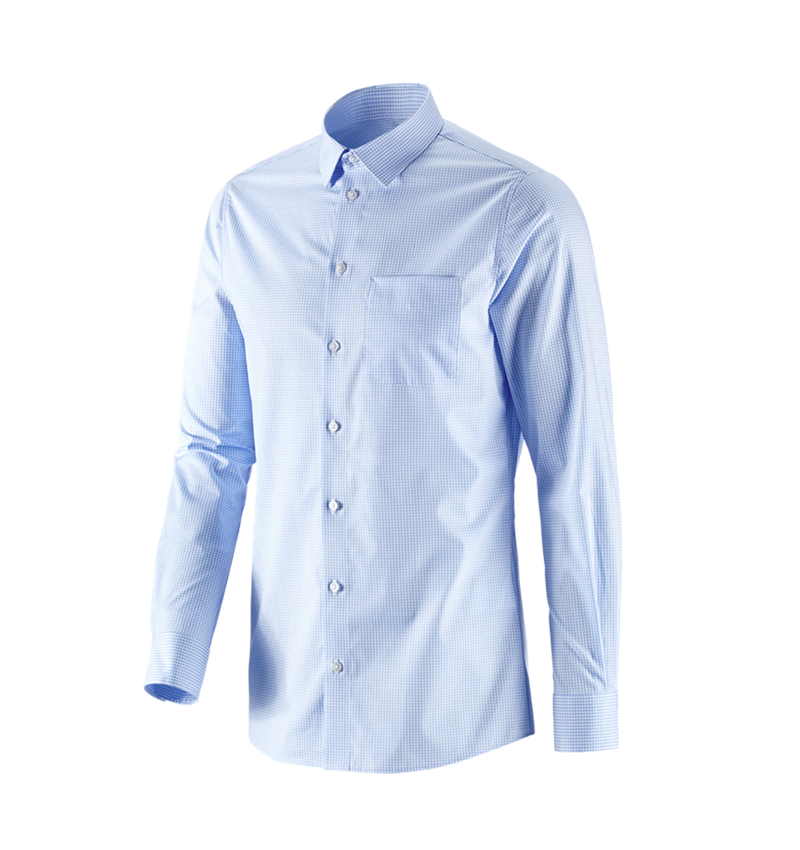 Shirts, Pullover & more: e.s. Business shirt cotton stretch, slim fit + frostblue checked