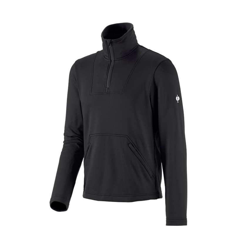 Shirts & Co.: Funktions-Troyer thermo stretch e.s.concrete + schwarz