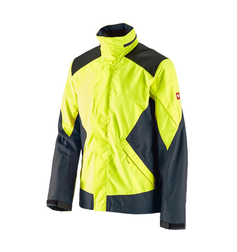 Vestes de travail: e.s. Veste de pluie de forestier + jaune fluo/bleu cosmos
