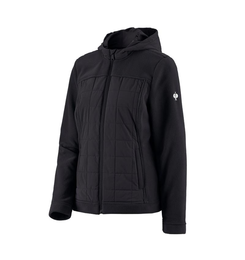 Work Jackets: Hybrid fleece hoody e.s.concrete, ladies' + black