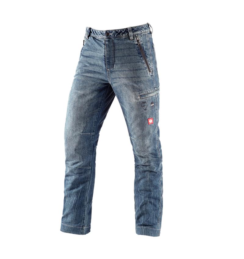 Pantalons de travail: e.s. Jeans anti-coupe de forestier + stonewashed
