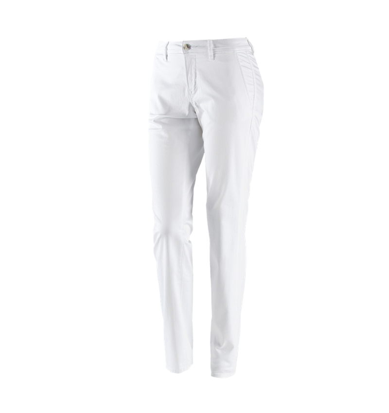 Work Trousers: e.s. 5-pocket work trousers Chino, ladies` + white