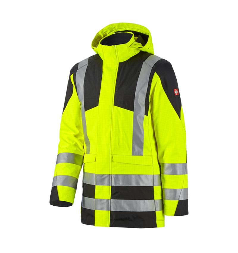 Vestes de travail: e.s. Parka de protection multinorm high-vis + jaune fluo/noir