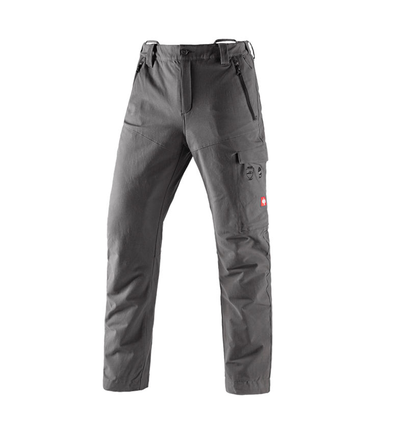 Work Trousers: Forestry cut protection trousers e.s.cotton touch + carbon grey