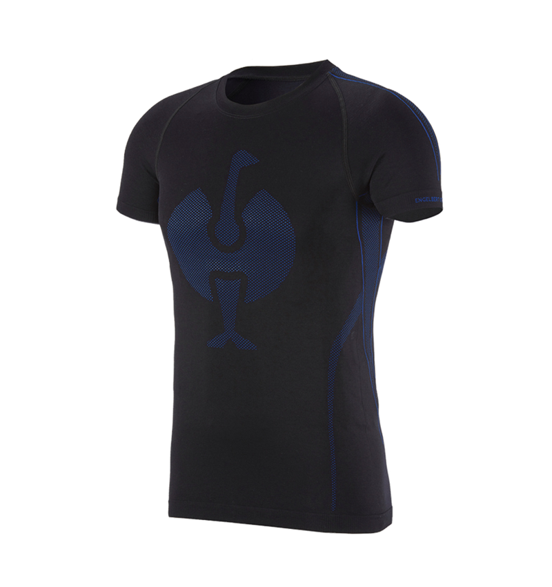 Unterwäsche   Thermokleidung: e.s. Funktions-T-Shirt seamless - warm + schwarz/enzianblau