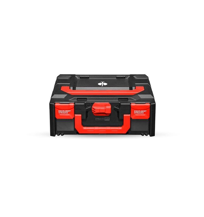 Werkzeugkoffer: STRAUSSbox 145 midi + schwarz/rot