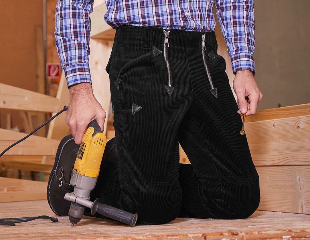 Work Trousers: e.s. Craftman's Trousers,Kneep. Pock. Wide Wale + black