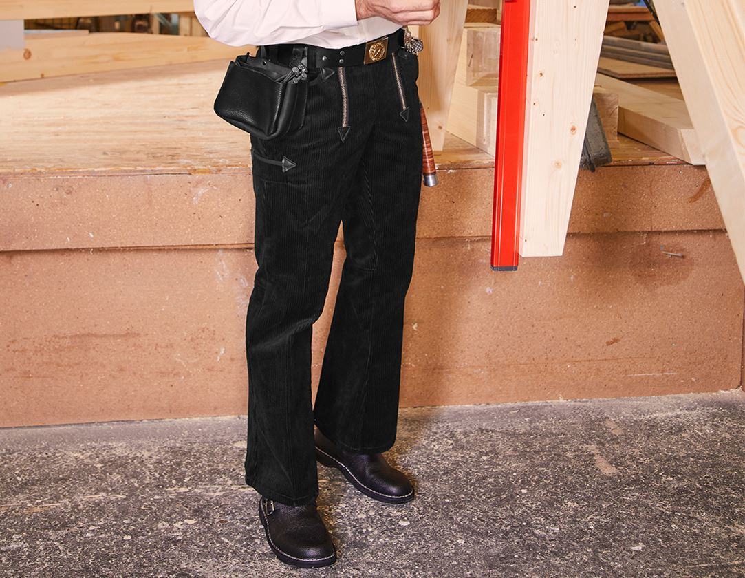 Work Trousers: e.s. Craftman's Trousers Wide Wale Cord with Flare + black