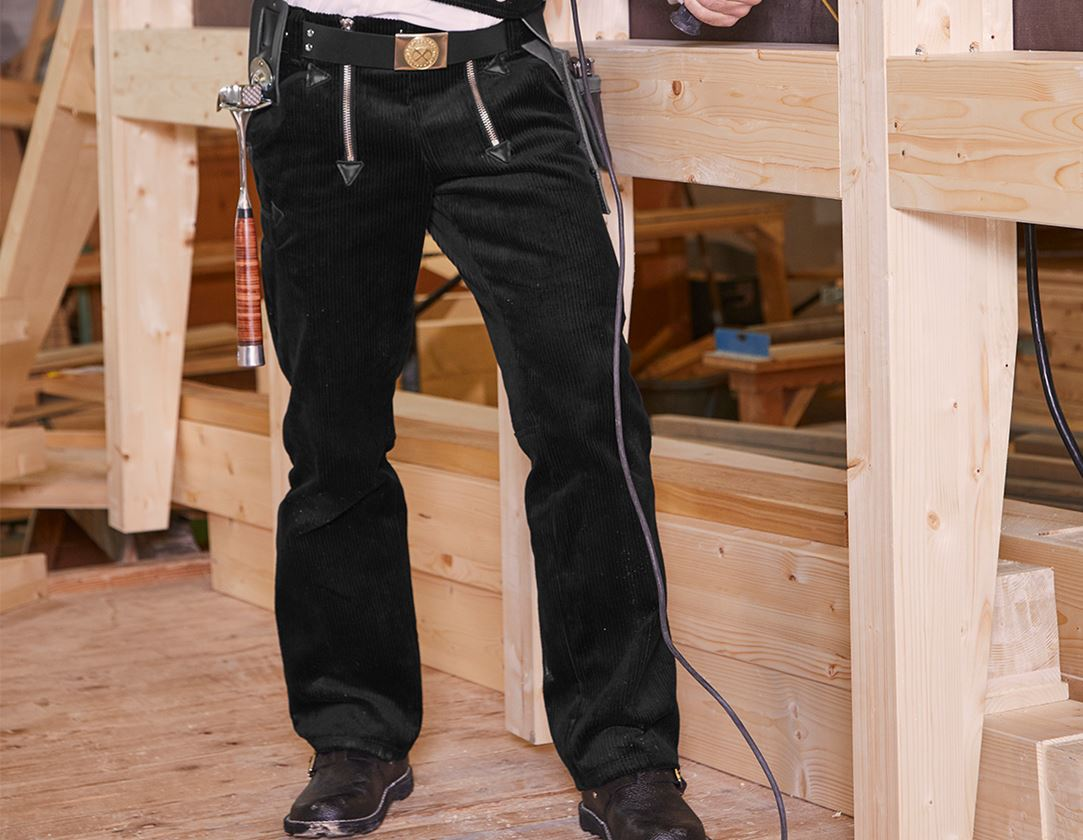 Work Trousers: e.s. Craftman's Trousers Wide Wale Cord + black