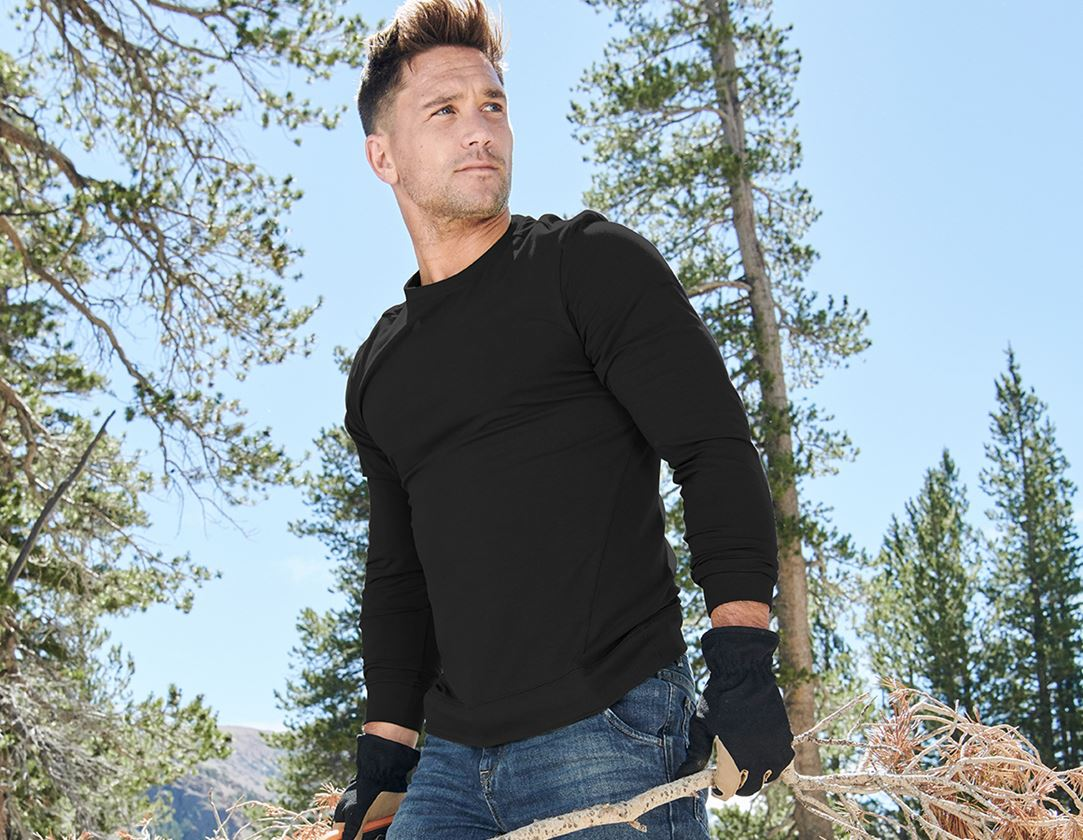 Shirts, Pullover & more: e.s. Long sleeve cotton stretch + black