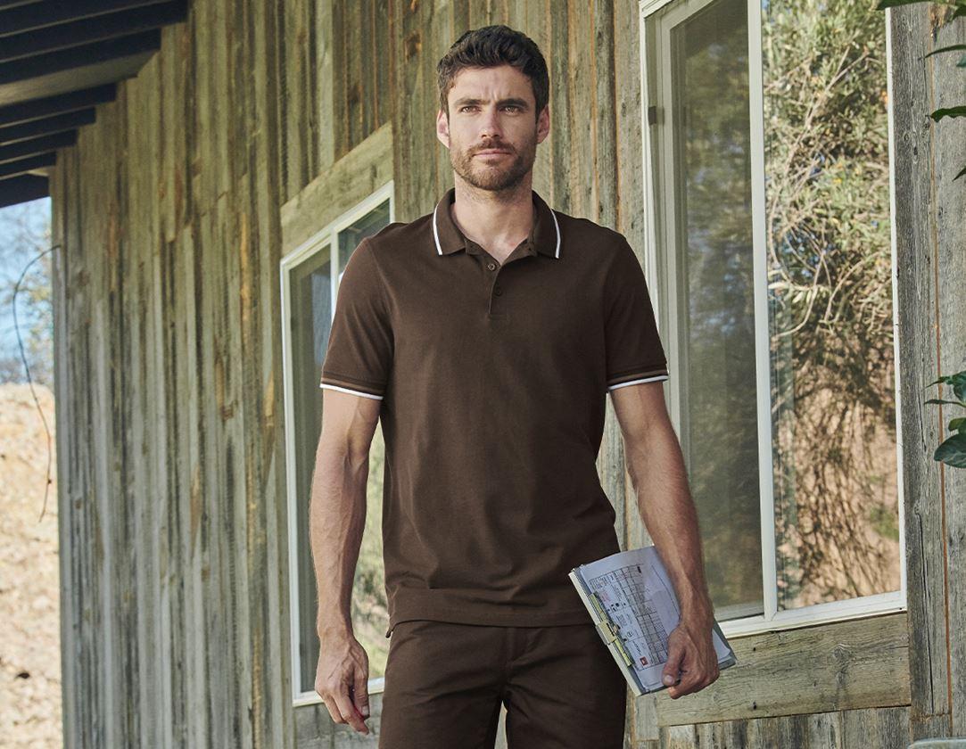 Shirts, Pullover & more: e.s. Polo shirt cotton Deluxe Colour + chestnut/hazelnut