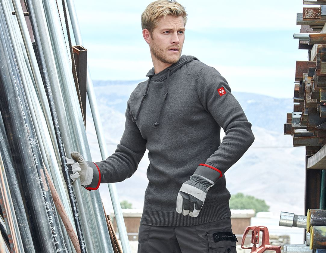 Shirts, Pullover & more: e.s. Knitted hoody + titanium melange