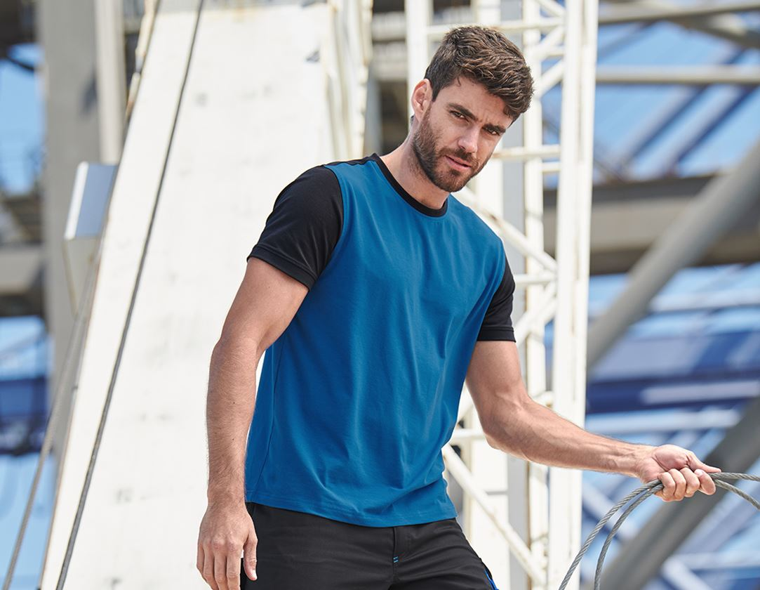 Shirts, Pullover & more: e.s. T-shirt cotton stretch bicolor + gentian blue/graphite