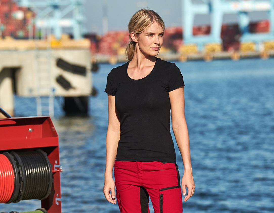 Shirts, Pullover & more: e.s. T-shirt cotton stretch, ladies' + black