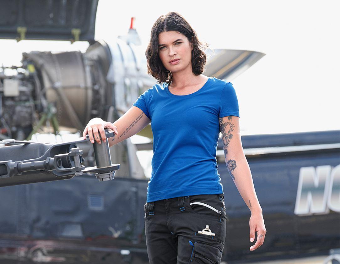 Shirts & Co.: e.s. T-Shirt cotton stretch, Damen + enzianblau