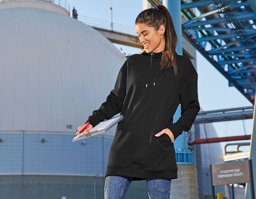 Shirts, Pullover & more: e.s. Oversize hoody sweatshirt poly cotton, ladies + black