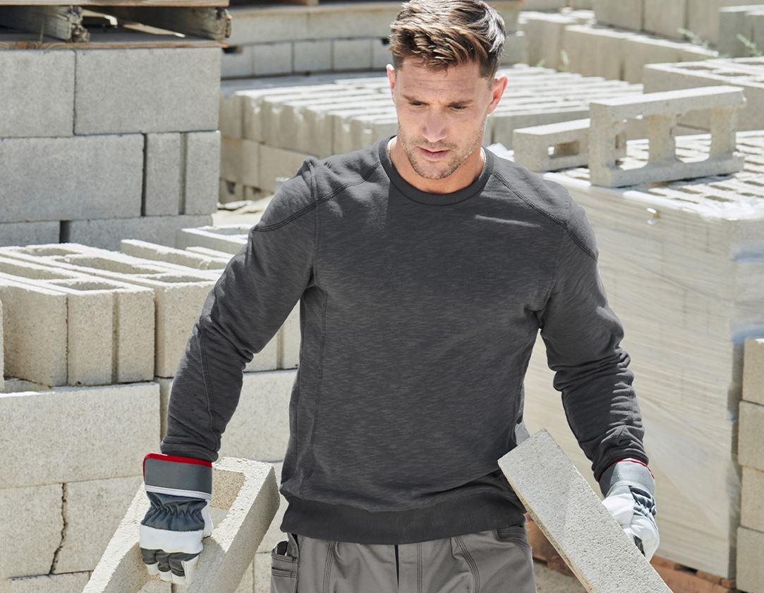 Shirts, Pullover & more: Sweatshirt cotton slub e.s.roughtough + titanium