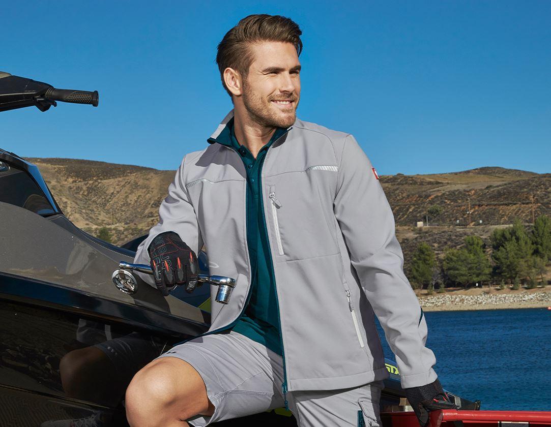 Work Jackets: Softshell jacket e.s.motion 2020 + platinum/seablue