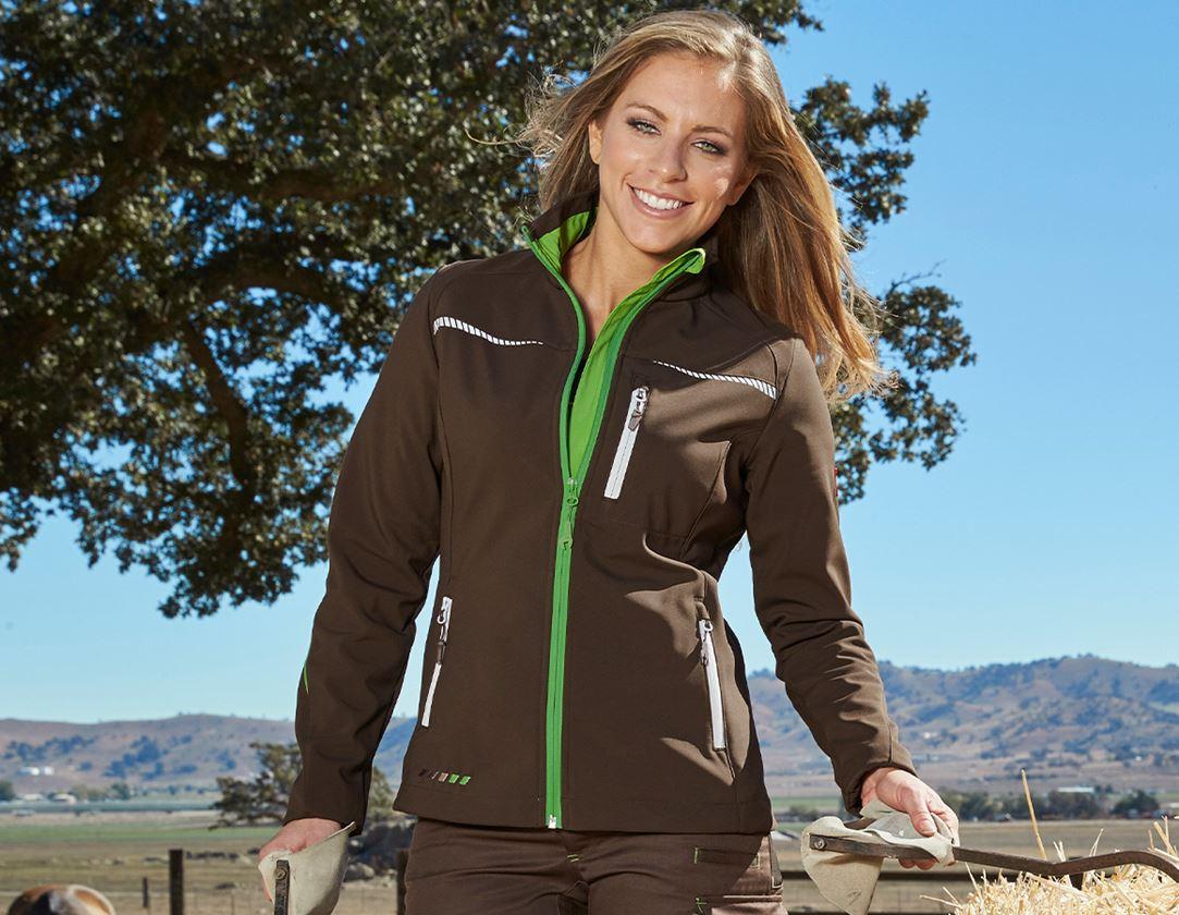 Work Jackets: Softshell jacket e.s.motion 2020, ladies' + chestnut/seagreen