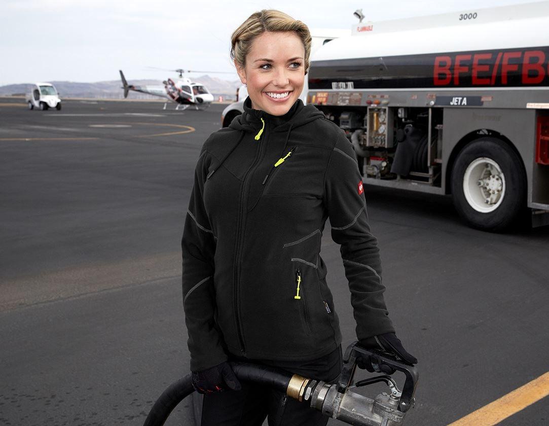 Vestes de travail: Veste capuche laine polaire e.s.motion 2020,femmes + noir